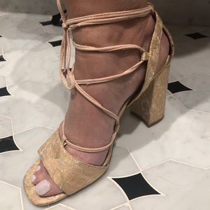 Pink and Gold Strappy Heels